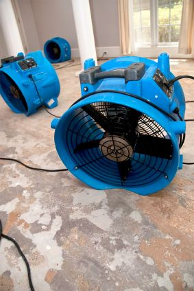 Manny's Carpet Cleaning's drying fans in water damaged house.